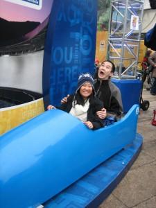 Angela was pretty nonchalant going down a pretty hard bobsled run