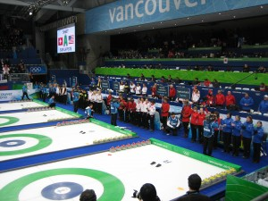 Curling competitors at the opening