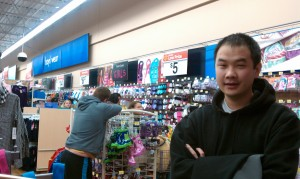 Waiting in the Walmart line at the back of the store