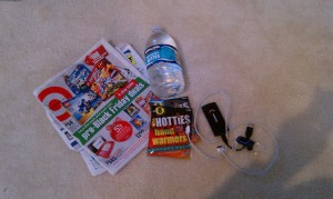 ads, hand warmers, water, extra cell phone batteries, bluetooth headsets