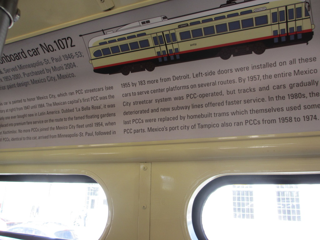 Placard inside streetcar